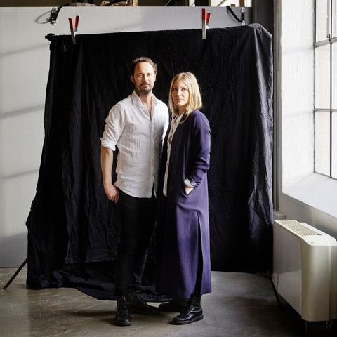 Frida and Jesper Starvid, founders and designers at Furö Studios, in their go-to yoga space in Sweden
