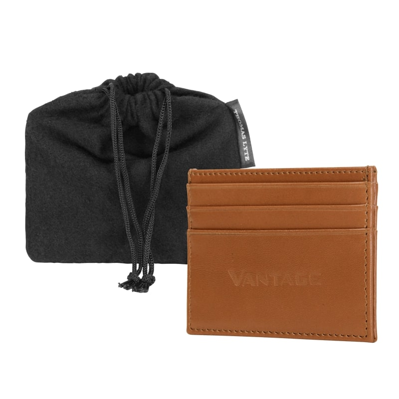 VANTAGE LEATHER CARD WALLET - TAN