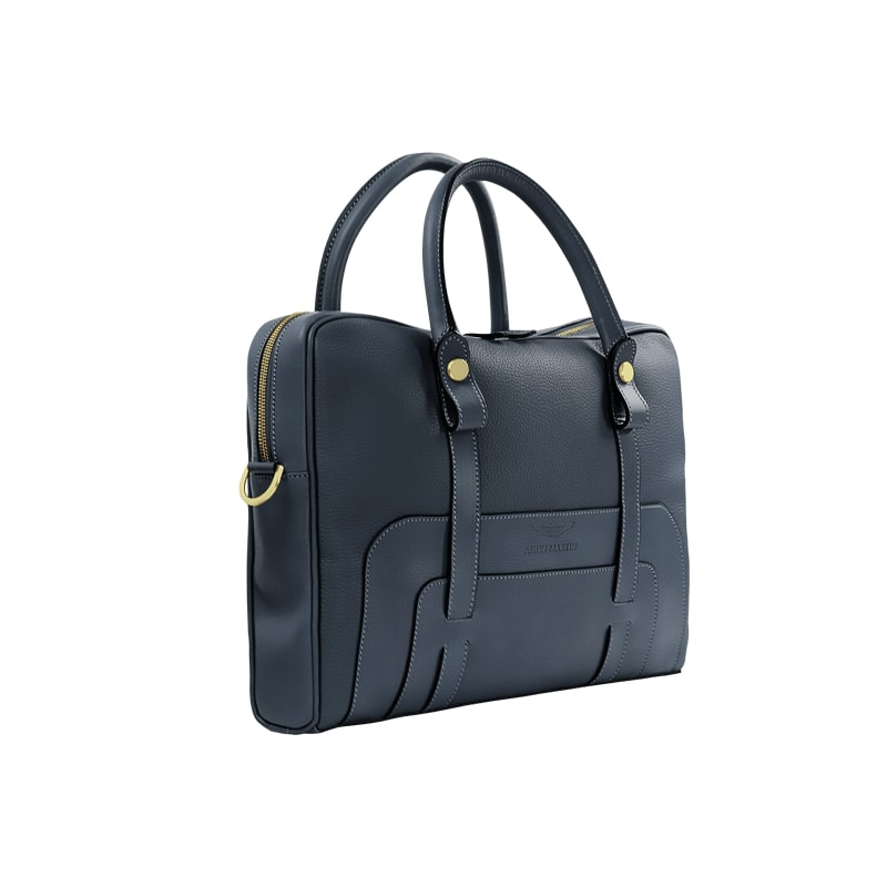 LUXURY LEATHER BRIEFCASE - NAVY