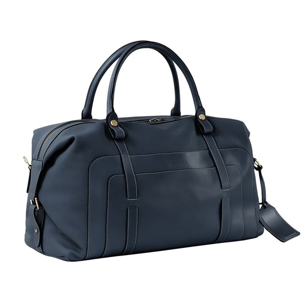 LUXURY LARGE LEATHER HOLDALL - NAVY