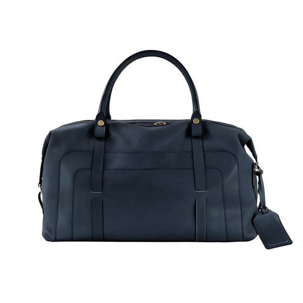 LUXURY SMALL LEATHER HOLDALL - NAVY