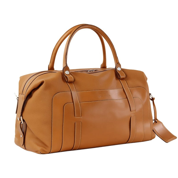 LUXURY LARGE LEATHER HOLDALL - TAN