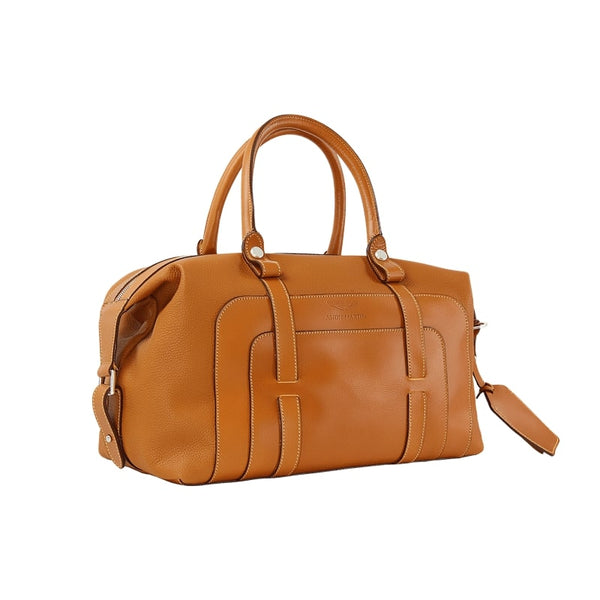 LUXURY SMALL LEATHER HOLDALL - TAN