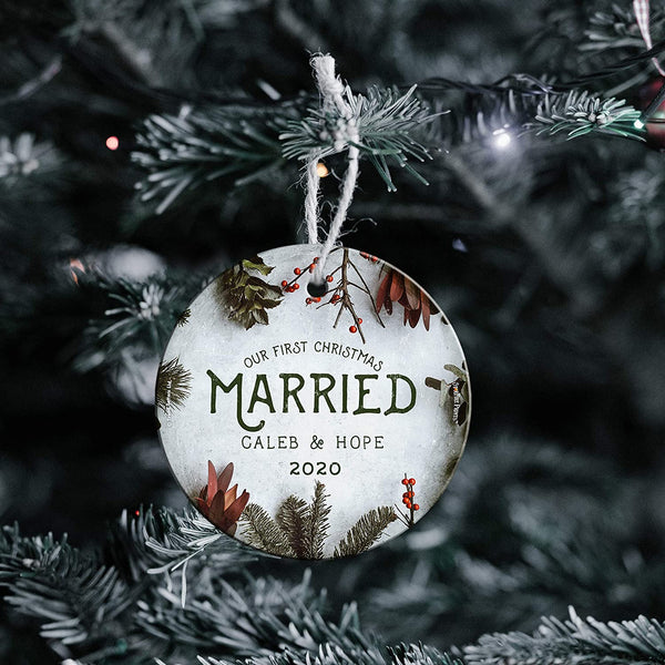 Our First Christmas Married 2020 Christmas Tree Ornament