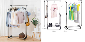 Garment Rack Stainless Steel Hanging Clothes Rail Clothes Rack