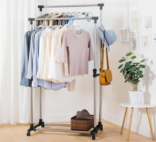Load image into Gallery viewer, Garment Rack Stainless Steel Hanging Clothes Rail Clothes Rack