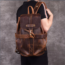 Load image into Gallery viewer, Vintage Backpack Brown Leather Backpack Travel Backpacks