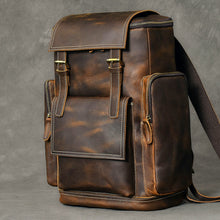 Load image into Gallery viewer, Vintage Backpack Brown Leather Backpack Travel Backpack Leather Travel Bag