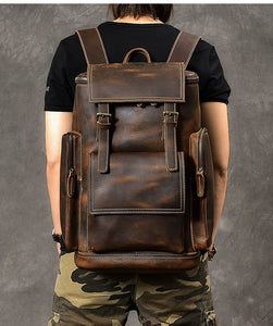 Vintage Backpack Brown Leather Backpack Travel Backpack Leather Travel Bag