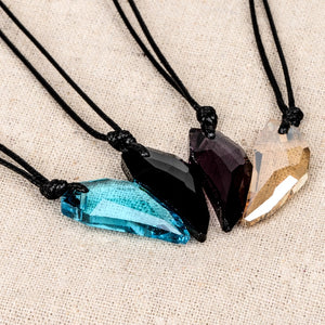 Crystal Necklace Mens Glass Crystal Pendant