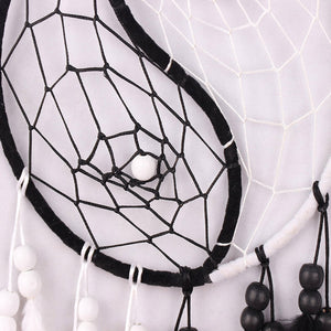 Dream Catcher with Feathers Ying Yang Black and White Dream Catcher