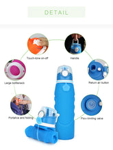 Load image into Gallery viewer, Collapsible Water Bottle Silicone Foldable Water Bottle 25oz