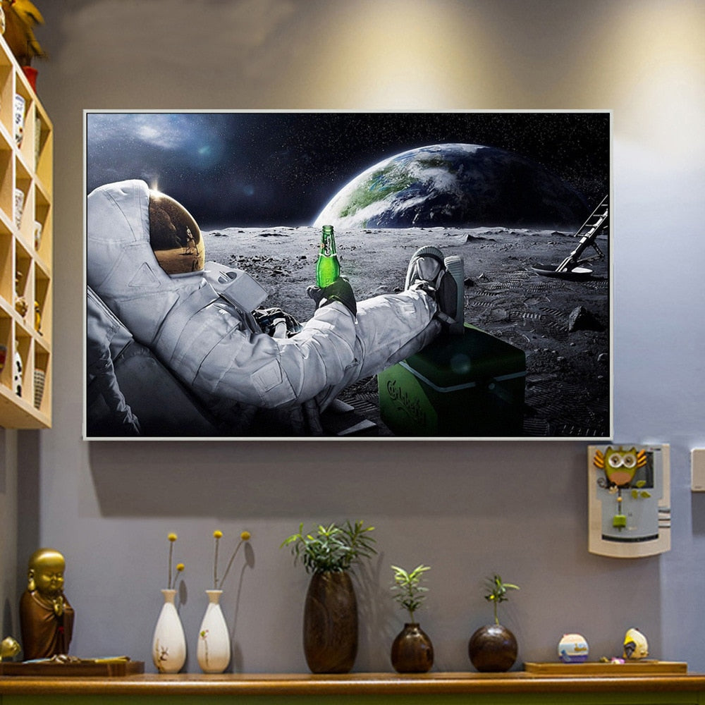 Space Canvas Space Painting Astronaut Moon Canvas