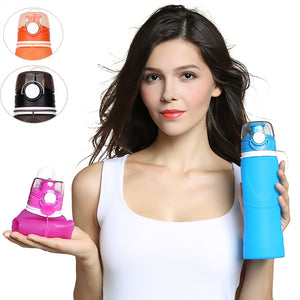 Collapsible Water Bottle Silicone Foldable Water Bottle 25oz