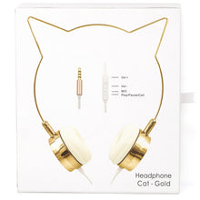 Load image into Gallery viewer, Gold Cat Ear Headphones Earphones Wire Frame Headset w Microphone