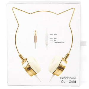 Gold Cat Ear Headphones Earphones Wire Frame Headset w Microphone