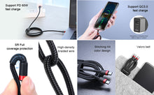 Load image into Gallery viewer, USB C Cable Fast Charging Fast Data Speed Both Ends Baseus USB Type C Length 2M