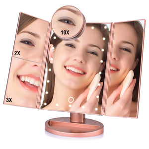 LED Folding Magnifying Vanity Mirror 22 LED Touch Screen