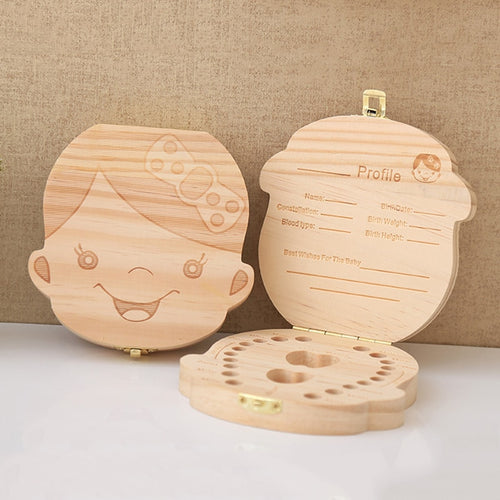 Wooden Baby Kids Tooth Box Keepsake Box