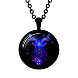 Zodiac Necklace Glass Horoscope Pendant