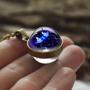 Zodiac Necklace Pendant Zodiac Glass Ball Horoscope