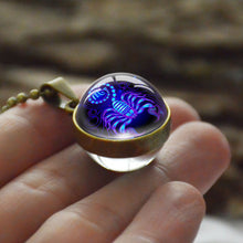Load image into Gallery viewer, Zodiac Necklace Pendant Zodiac Glass Ball Horoscope