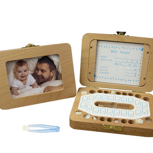 2 in 1 Wooden Baby Tooth Box With Photo Frame