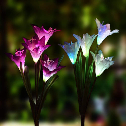 Multi-Color Changing Lily Solar Powered Lights Solar Garden Flower Lights