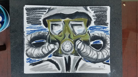 pastel charcoal gas mask series by LA artist Wessel