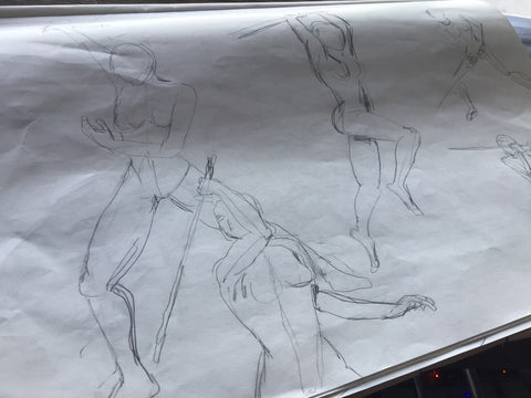 Figure sketches by Los Angeles artist Wessel
