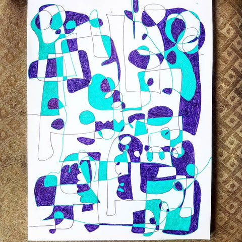 A recent abstract ink drawing by Los Angeles artist Wessel
