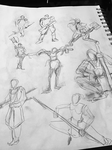samurai sketches by Los Angeles graphic artist Wessel