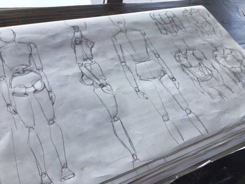 Body sketches by LA artist Wessel