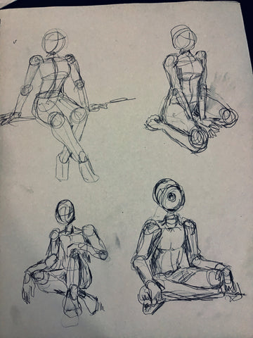 Figure sketches by Los Angeles graphic artist Wessel
