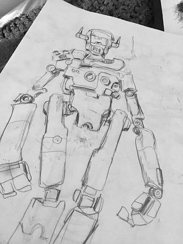 Robot sketches by Los Angeles graphic artist Wessel