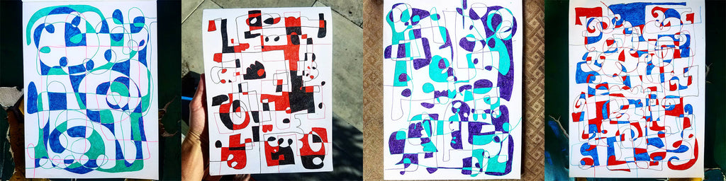 Current abstract ink art project by Los Angeles based artist Wessel