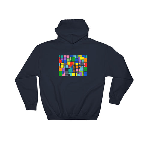 New design by graphic artist wessel on navy hoodie