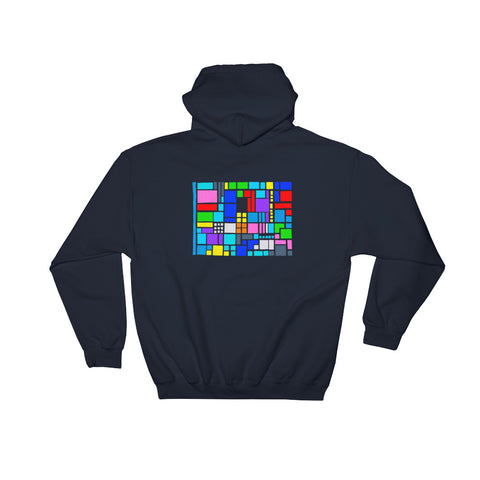 graphic artist Wessel most recent design on navy hoodie