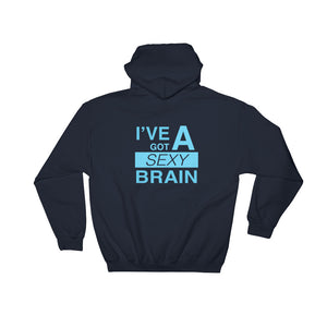 Wordmash - I've Got a Sexy Brain NAVY GRAPHIC ART PULLOVER HOODIE Hoodie- Doodles by Wessel