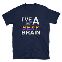 Load image into Gallery viewer, Wordmash - I've Got a Sexy Brain BLACK GRAPHIC ART T SHIRT t-shirt- Doodles by Wessel