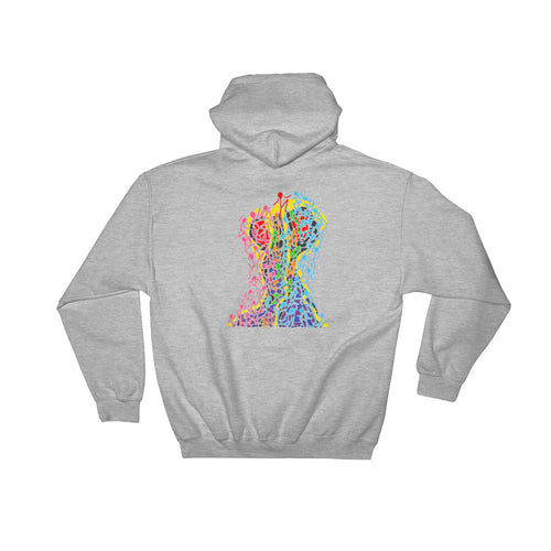 The Stick Figures - Overcome adversity SPORT GRAY GRAPHIC ART PULLOVER HOODIE Hoodie- Doodles by Wessel