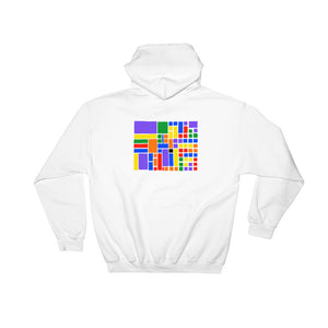Boxes - 6 - 1 - WHITE GRAPHIC ART PULLOVER HOODIE Hoodie- Doodles by Wessel
