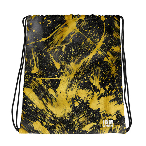 Paper experiments Round 2 GOLD SHATTER Drawstring Bag