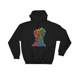 The Stick Figures - Overcome adversity BLACK GRAPHIC ART PULLOVER HOODIE Hoodie- Doodles by Wessel