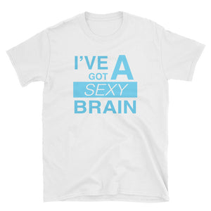 Wordmash - I've Got a Sexy Brain WHITE GRAPHIC T SHIRT t-shirt- Doodles by Wessel