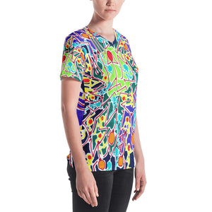 Doodles by Wessel - The Stick Figures 8 WOMENS ALL OVER PRINT V NECK SHIRT