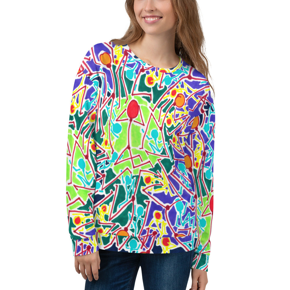 Doodles by Wessel - The Stick Figures 8 ALL OVER PRINT WOMENS SWEATER
