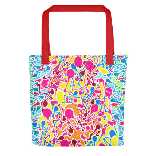 The Stick Figures 2 - Flow to the positive - GRAPHIC ART TOTE Tote- Doodles by Wessel