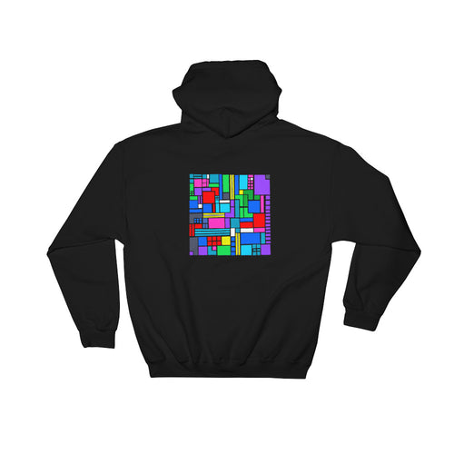 Boxes 6 - 2 - BLACK GRAPHIC ART PULLOVER HOODIE Hoodie- Doodles by Wessel