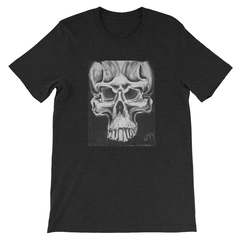 Skulls 1 BLACK HEATHER CUSTOM ART T-SHIRT t-shirt- Doodles by Wessel